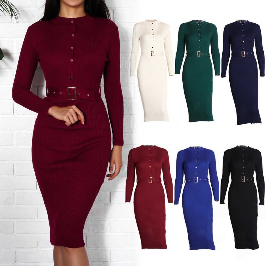 1ee08d5c8b2 Women Midi Sweater Dress Autumn Winter 2018 New Fashion Button Long Sleeve  Pencil Dress Knitted Women Bodycon Dress Black Red