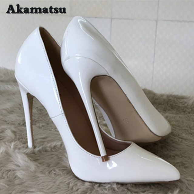 8f029cfd9a8 White Patent Leather Stilettos High Heels Pumps Women 8cm 10cm Akamatsu  Party Spring Pointed Toe Slip on High-heeled Shoes Woman