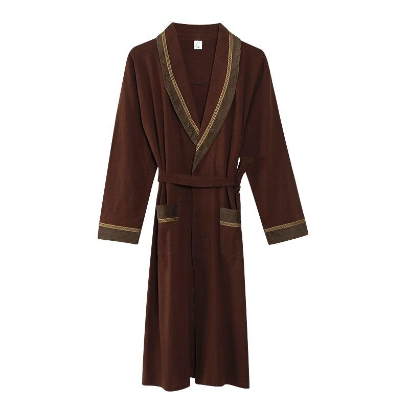Brown Color Cotton Robe Male V-neck Dressing Gown Long Sleeve Men's Bathrobe Autumn Long Robe Mens Bath Robe M,L,XL,XXL,XXXL
