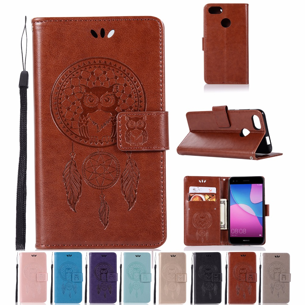 AIGLAT Case For Huawei Y6 Pro Enjoy 7 Play 5X 5.0inch PU Leather Case Stand Card Holder Embossed Owl Flip Wallet Case Cover