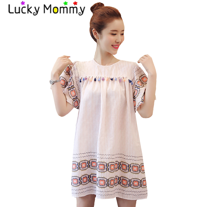 Vintage Maternity Mini Dress Short Sleeve Materntiy Clothes for Pregnant Women Retro Pregnancy Clothing 2017 Summer Dress