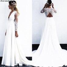 Long Sleeves Lace Wedding Dresses 2019 Sexy Deep V-Neck Open Back Sweep Train Beach Bridal Gowns Plus Size Vestido De Noiva