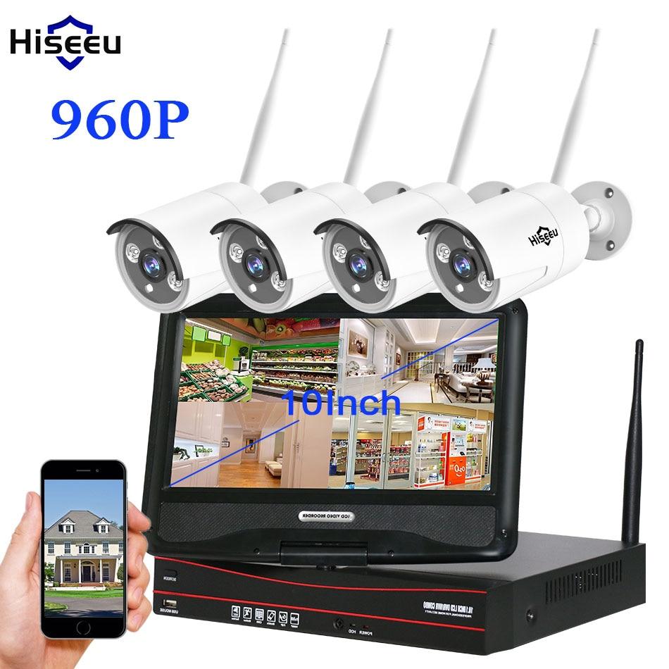 Hiseeu 10 Inch Displayer 4CH 960P Wireless CCTV System Wireless NVR IP Camera Waterproof Home Security