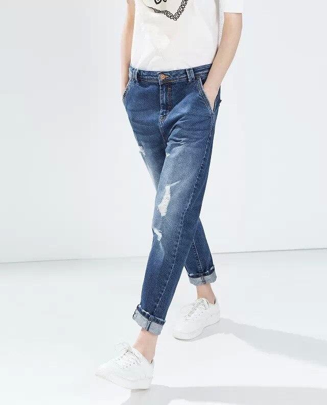 Gorgeous Trousers 2015 ZA Fashion womens classic ripped boyfriend jeans casual pants cut holes Loose Blue jeans denim