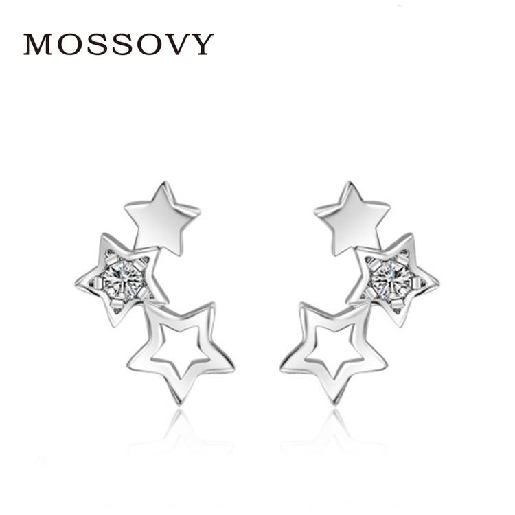Mossovy Star Simple Rhinestone Stud Earrings Hollow Out Delicate  Accessories Zircon Earring Fashion Jewelry Bijoux for Women 0b587966d976