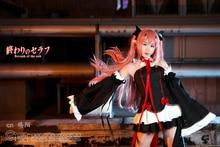 Anime Ningún Serafín de Owari Cosplay Krul Tepes de Halloween Cos conjunto Completo 6 in1 (Vestidos + Mangas + Accesorios Para el Cabello + guardamanos + Corbata)