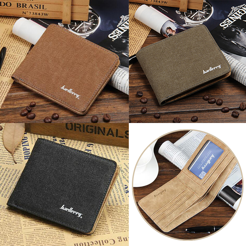 Short Wallet  Designer's Canvas Brief Purse For Male Free Shipping