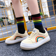 2019 summer Rainbow canvas womens shoes new Korean version Joker low color matching flat white Mixed Colors Yasialiya