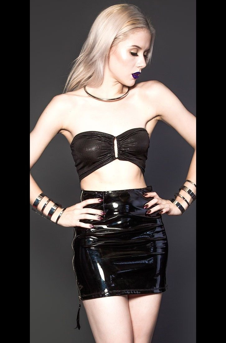 Women Sexy Black Zip Latex PVC Pencil Mini Skirt