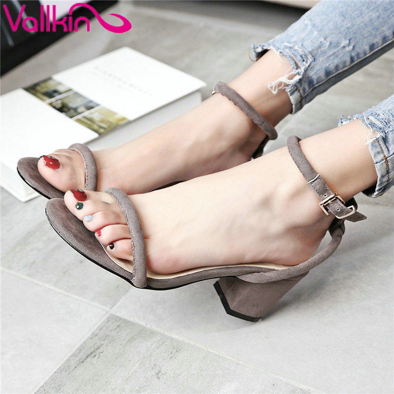 ФОТО VALLKIN  2017 Women Sandals Summer Square Heel Sandals Peep Toe Ankle Strap High Heels Western Real Leather Shoes Wedding Shoes