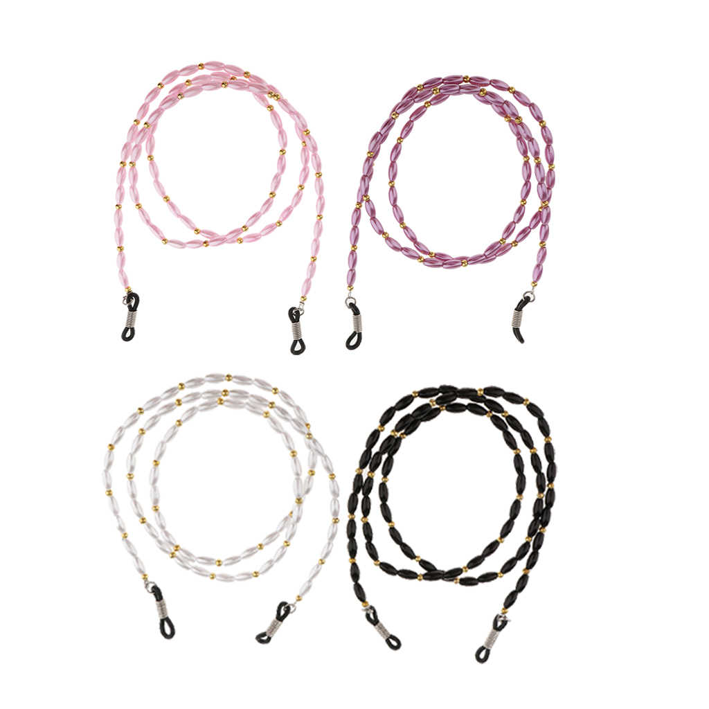 4 Pieces 60cm Beaded Eyeglass Necklace Strap Sunglasses Chain Holder Neck Cord Chain Lanyard with Beads