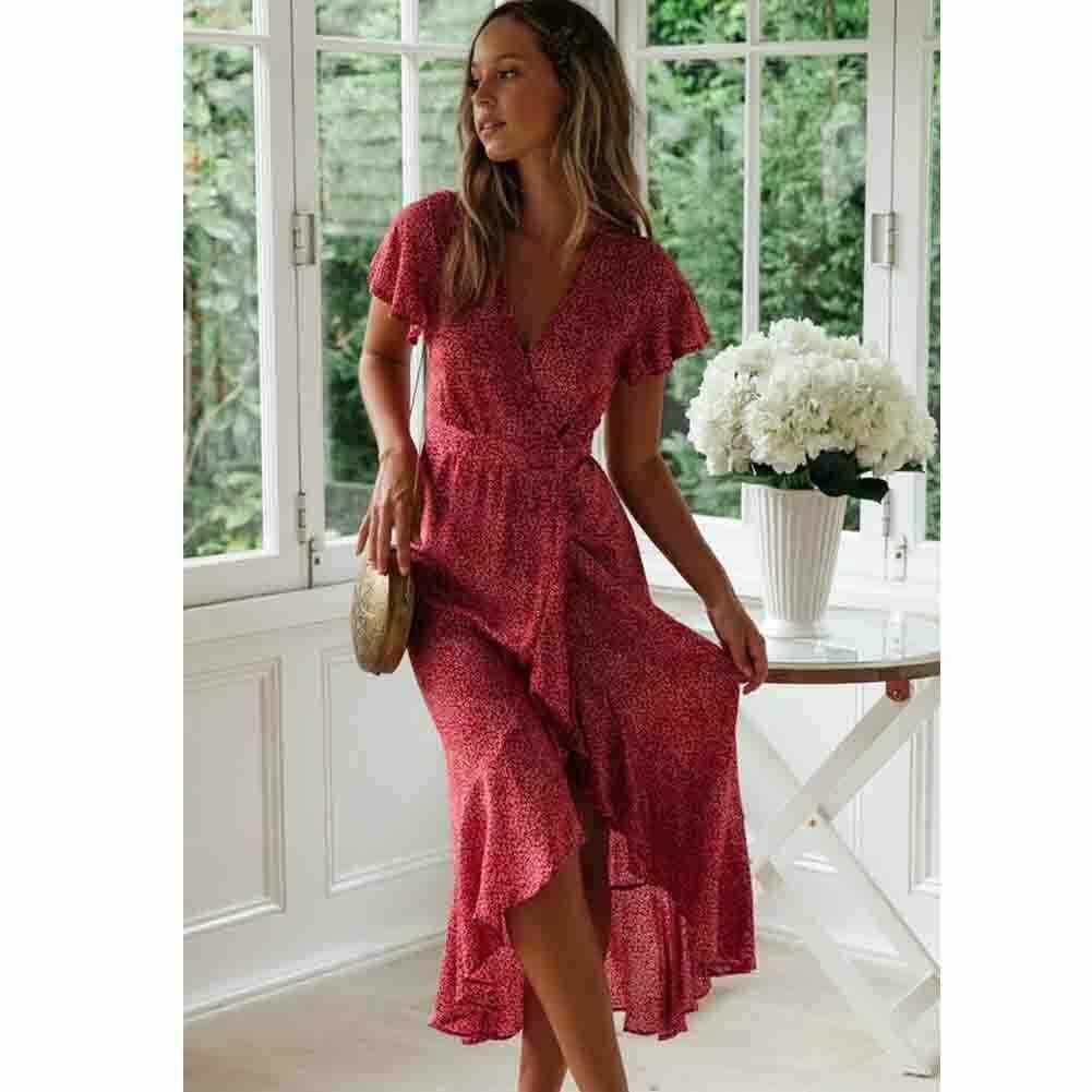 Для женщин дамское, летнее, богемное короткий рукав Длинные платье с цветочным рисунком модные рябить v-образным вырезом Вечерние Пляжные наряды Сарафан