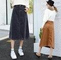 Nova Queda de Inverno Mulheres de Veludo Saia Longa Cor Sólida ocasional Magro Plus Size Cintura alta Uma Linha Saia S35