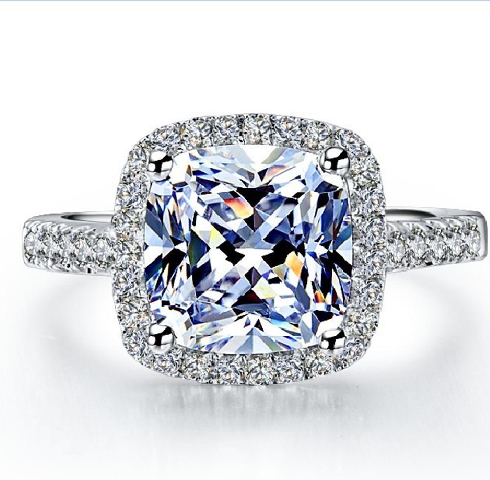 Hot Sale Popular 2 Carat Brilliant Cushion Cut Halo Style Nscd Lovely Diamond  Engagement Ring Best