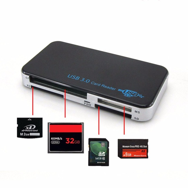Все в 1 USB 3.0 Считыватель Смарт-Карт Flash Нескольких Карт Памяти ридер с ИНТЕРФЕЙСОМ USB Для TF Secure Digital Card CF MS М2 SM Карт адаптер