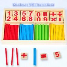 Прямая поставка,, детские развивающие игрушки, деревянные Счетные палочки, игрушки Монтессори, математические детские подарочные деревянные коробки