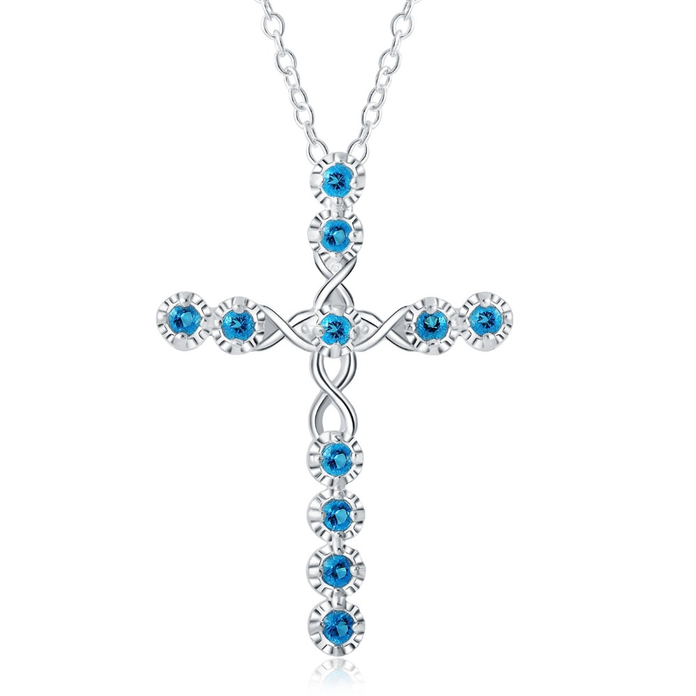 NEW ARRIVE Hot sale silver for women cyrstal Cross pendant necklace jewelry silver jewelry fashion cute wedding party LN032