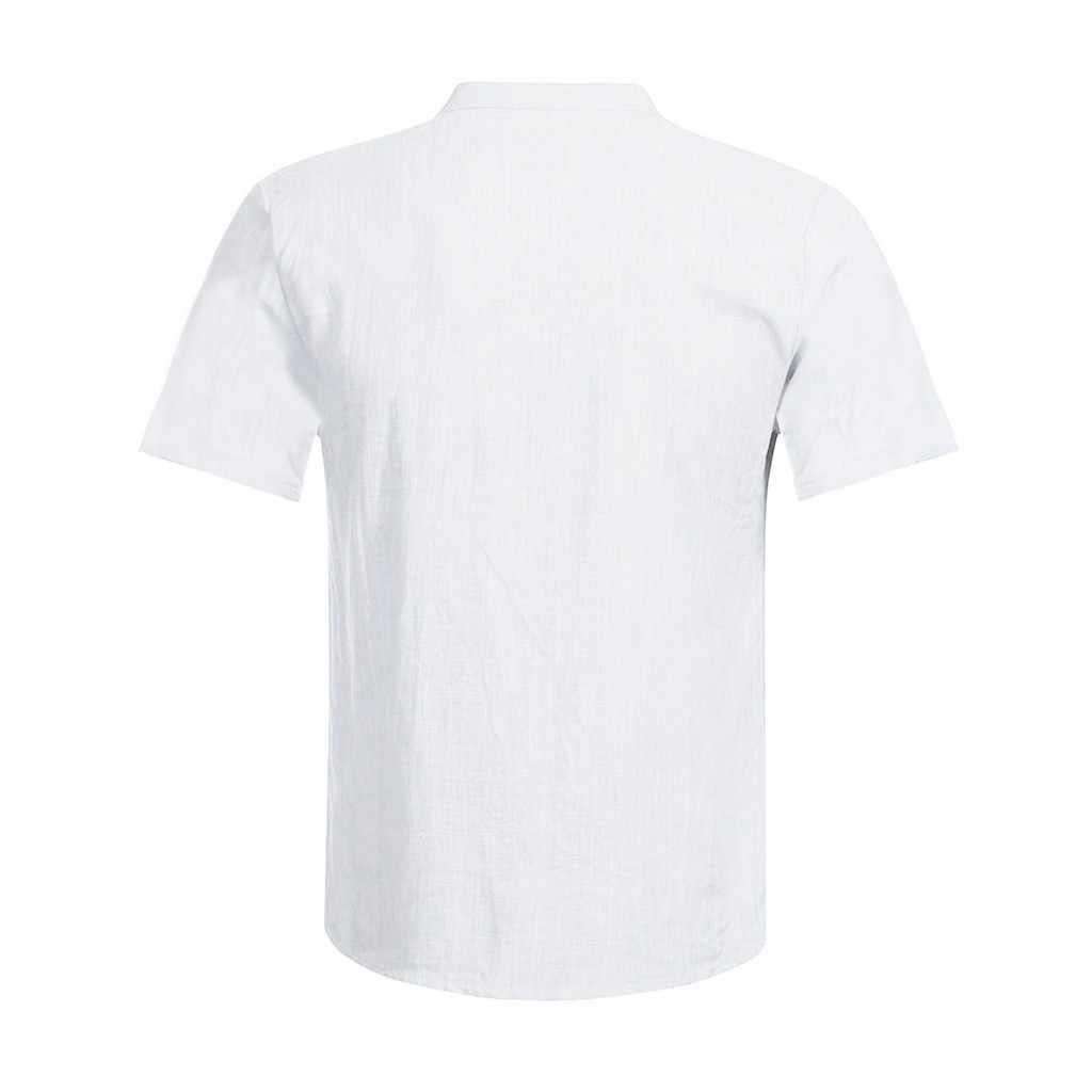 男性のカジュアルコットンリネンシャツ男性白半袖シャツ男性夏ソリッドカラーのシャツ S-5XL トップス