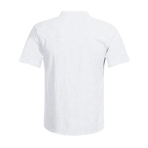 Shirts 2019 Linen Shirts Men Stand Collar V-neck Shirt Fashion Hawaiian Shirts Chemise Homme Men Clothes Camisa Masculina Multan