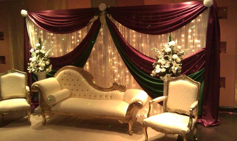 3 6m white and burgundy silk wedding backdrop wedding curtain backdrop wedding drape