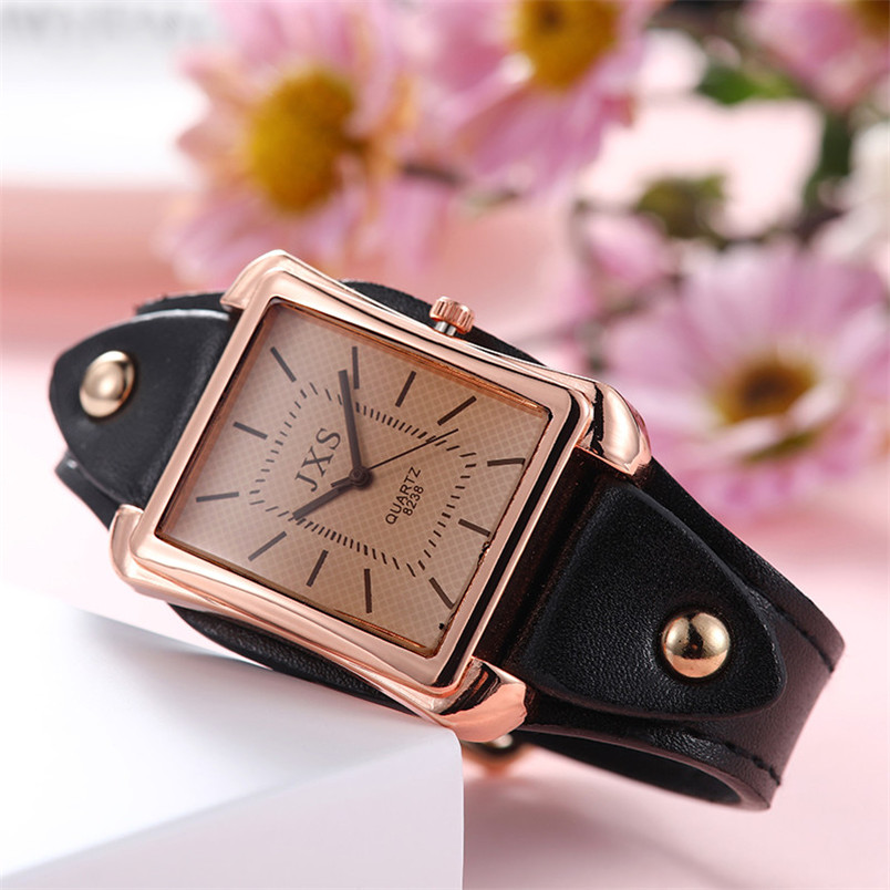 Quartz Horloge Vrouwen High-end Blauw Glas Leven Uitstekende Zwart Nail Vierkante Tafel Zwart Nail Vierkante Tafel Vrouwen Horloge 4hm Talrijke In Verscheidenheid
