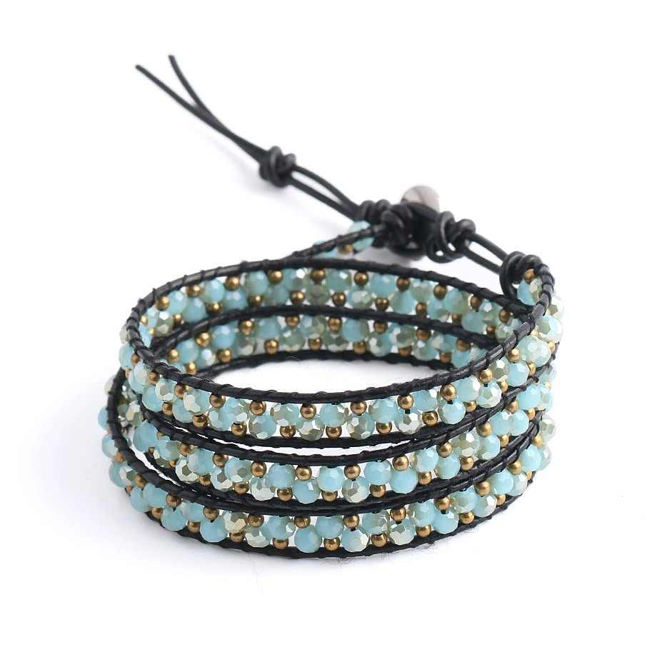CSJA Leather Wrap Bracelet for Women Triple Wrapped Bracelets Green Pink Blue Faceted Glass Beads Boho Yoga Charm Jewelry S139