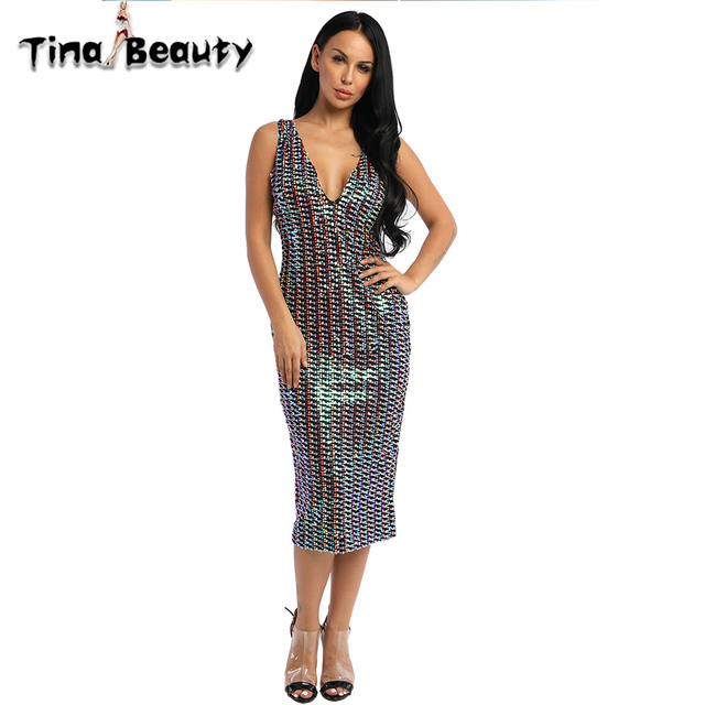 d4ba5ecc150 All Sequin Rainbow Formal Dress 2018 New Summer V Neck Women s Bodycon  Party Dress Lady Celebrity