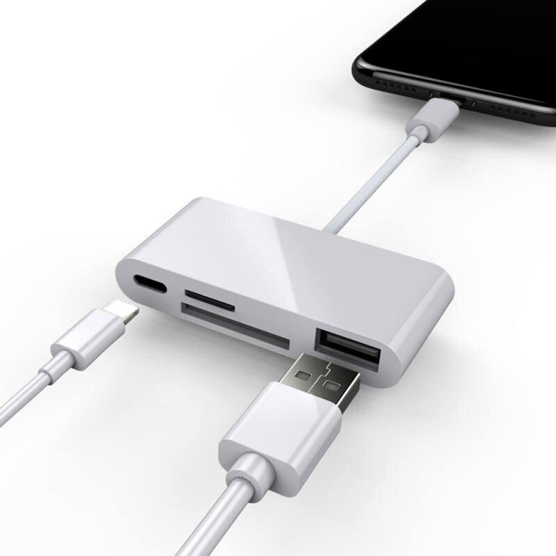 4in1 OTG lecteur de carte iOS téléphone SD TF carte mémoire écrivain USB 2.0 caméra Kit de connexion adaptateur pour iPhone X XS MAX XR 6 7 8 iPad