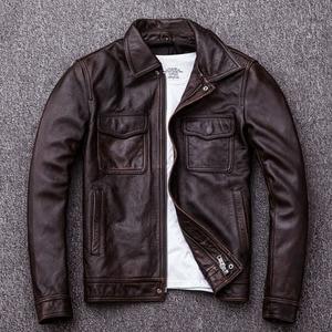 Image 3 - MAPLESTEED ヴィンテージ黒本物の革のジャケット男性 100% 天然カーフスキン赤茶色のレザージャケット男性の革のコートの秋 m174