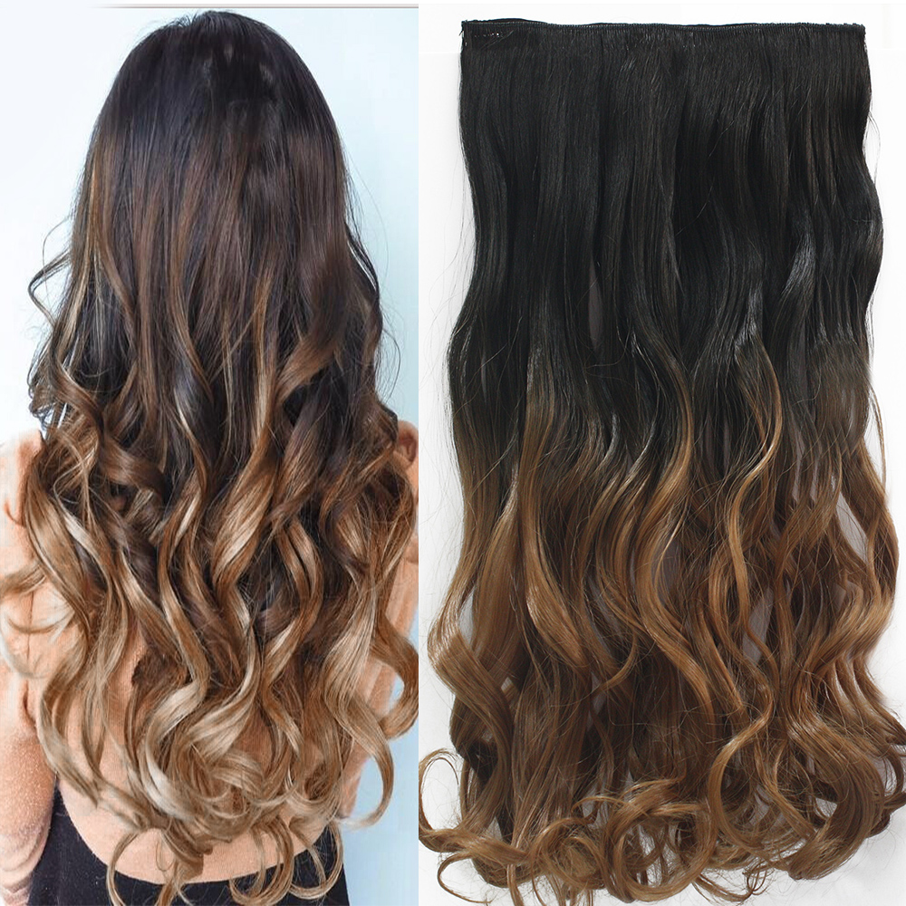 24inch 60cm One Piece Curly Hair Clip In Ombre Dip Dye Synthetic