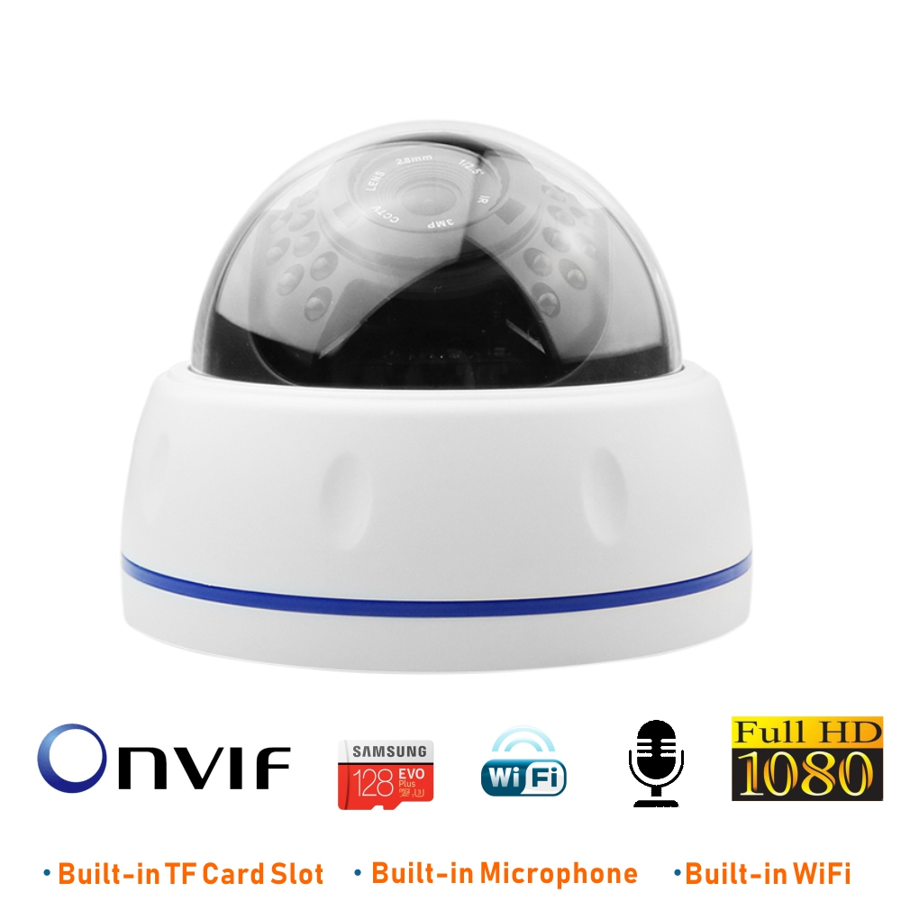 ENSTER Onvif SONY IMX323 Full HD1080P Indoor Dome Wired and Wireless TF Card FTP Recording Night