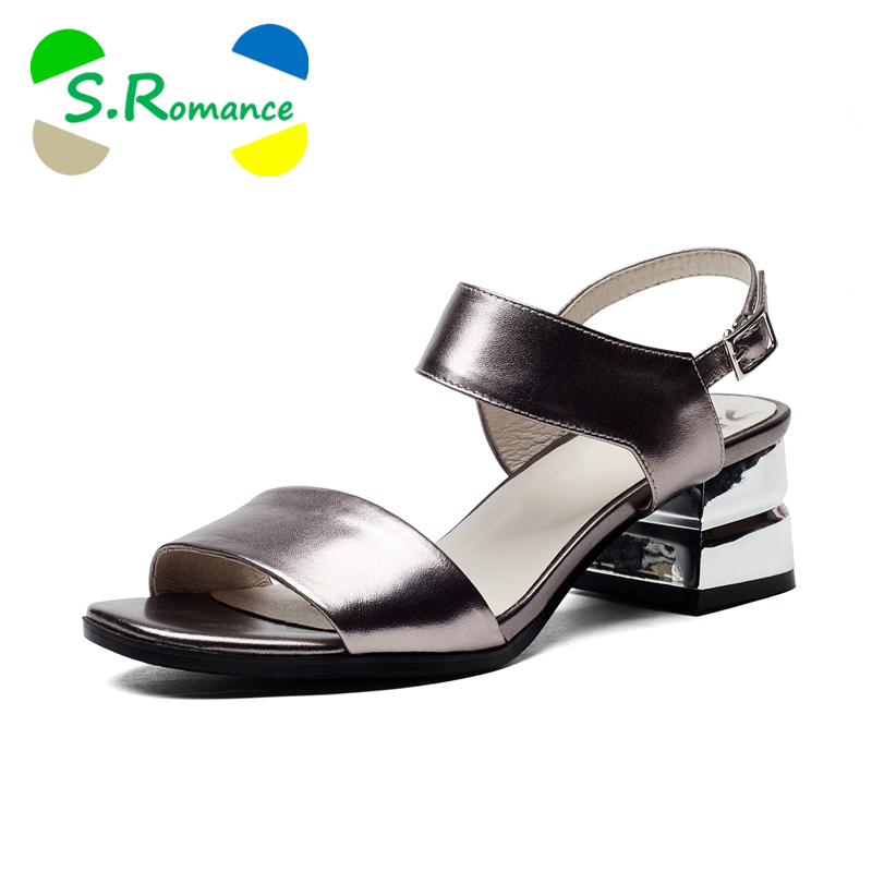 S Romance Women Sandals Genuine Leather Plus Size 34 41 Fashion Med Heel New Arrival Office