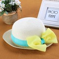 New Cute Children Kids Girl Caps Summer Beach Hats Big Bow Wide Brim Sun Beach Patchwork Straw Cap Sweet Caps Wholesale 41