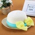 Nueva Linda Muchacha de Los Niños Kids Summer Beach Caps Sombreros Arco Grande Remiendo de la Paja de Ala ancha Beach Sun Cap Tapas Dulces Al Por Mayor 41