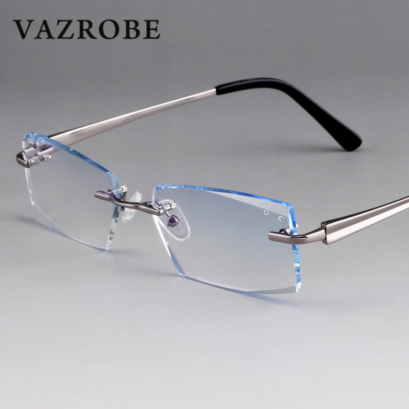 dc00087732 Vazrobe (3g) Titanium Rimless Glasses Men Women Customize Optical Clear Lens  Man Prescription 1.61 1.67 Index ...
