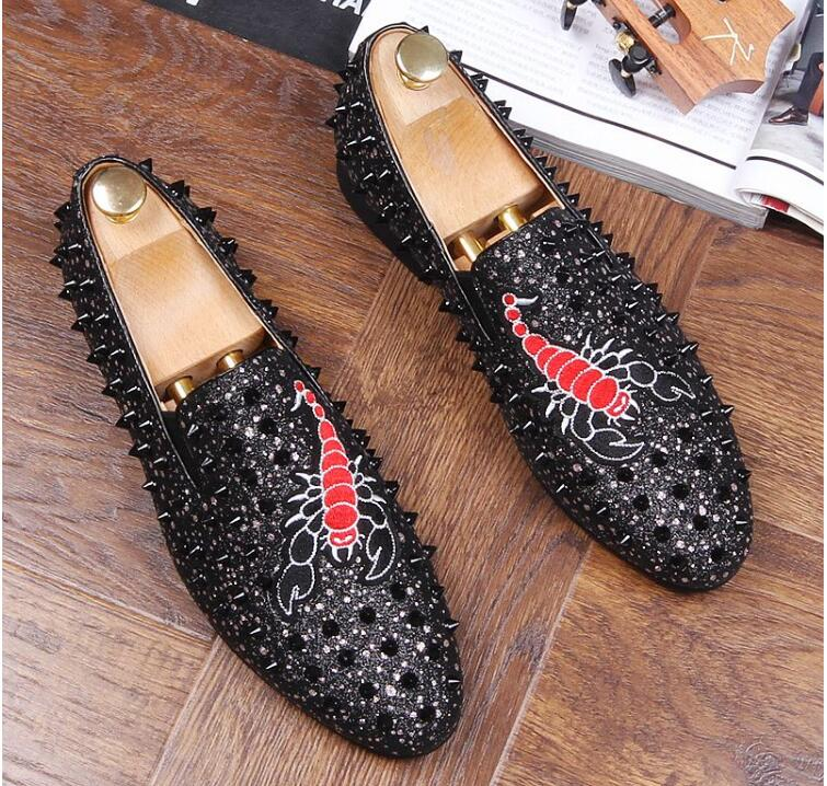 Rouge Hommes embroidery Marque Broderie Black De or Strass Chaussures D'or Mocassins Diamant Noir Luxe Black Rivets Mariage Fond qqzaw4E