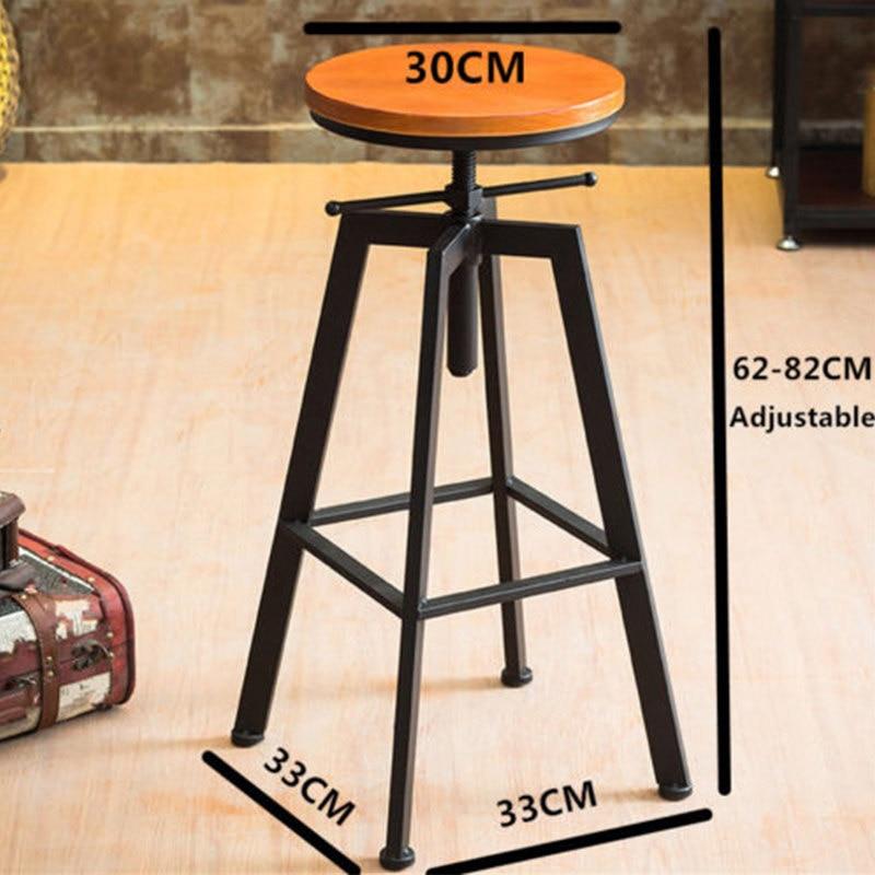 B Iron Bar Chair Industrial Wind Rotating Bar Stool Home Lifting Bar Chair Solid Wood High Chair High Bar Stool
