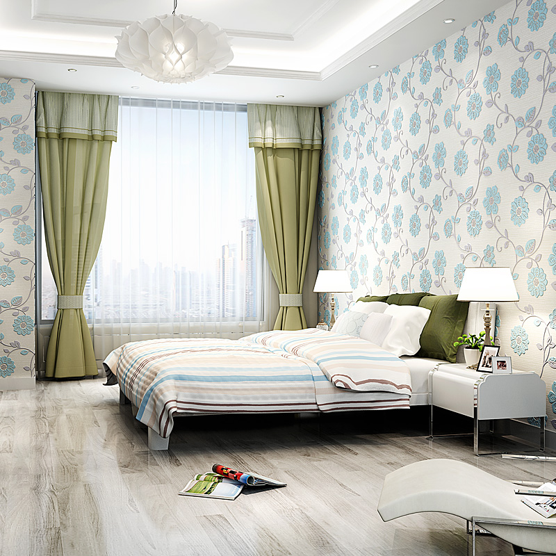 PAYSOTA 3 D Pastoral Flower Stereo Non woven Wallpaper Bedroom Living Room TV Setting Blue Pink Wall Paper Warmth Home Decor