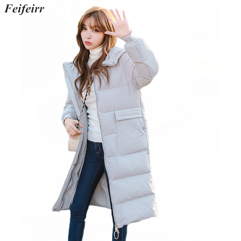 Fashion   parka   women 2018 New Winter Hooded Long Sleeve Solid Color Warm Loose Thicken Big Size bread service cotton jacket