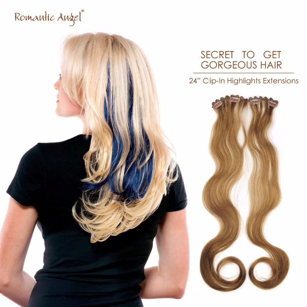 24 Inches60cm Best Quality 100 Remy Human Hair Clip In Highlights