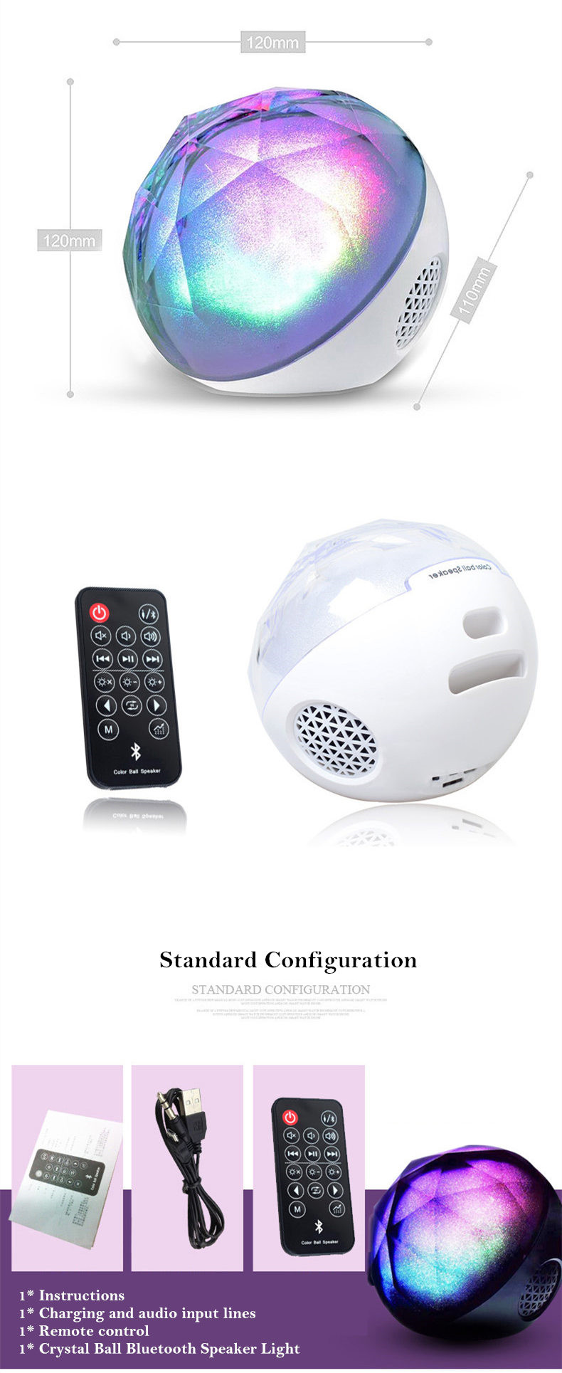 Portable Bluetooth speaker Portable Wireless Loudspeaker LED Light Crystal Ball Bluetooth Speaker Night Light USB MP3 Player06