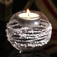80mm Jasnego Kryształu Tealight Świeczniki Szklane Kulki ze Srebrnym Błyskotka Spiralnie, ślub Świecznik Wakacje Domu Romantyczny