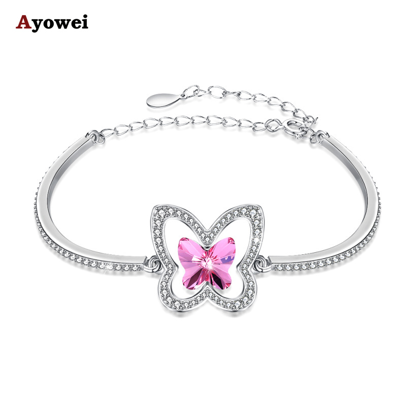AYOWEI Butterfly Shape 925 Silver Bracelet Pink Zircon Lady Fashion Jewelry LB005AAYOWEI Butterfly Shape 925 Silver Bracelet Pink Zircon Lady Fashion Jewelry LB005A