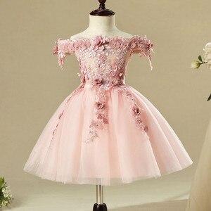 Розовое Кружевное Платье на день рождения для маленьких девочек 1 год, платье для крещения с аппликацией, платье для новорожденных, Одежда д...