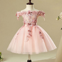 Pink Lace 1 Year Birthday Baby Girl Dress For Baptism Appliques Infant Princess Christening Gown Newborn Toddler Bebes Clothes