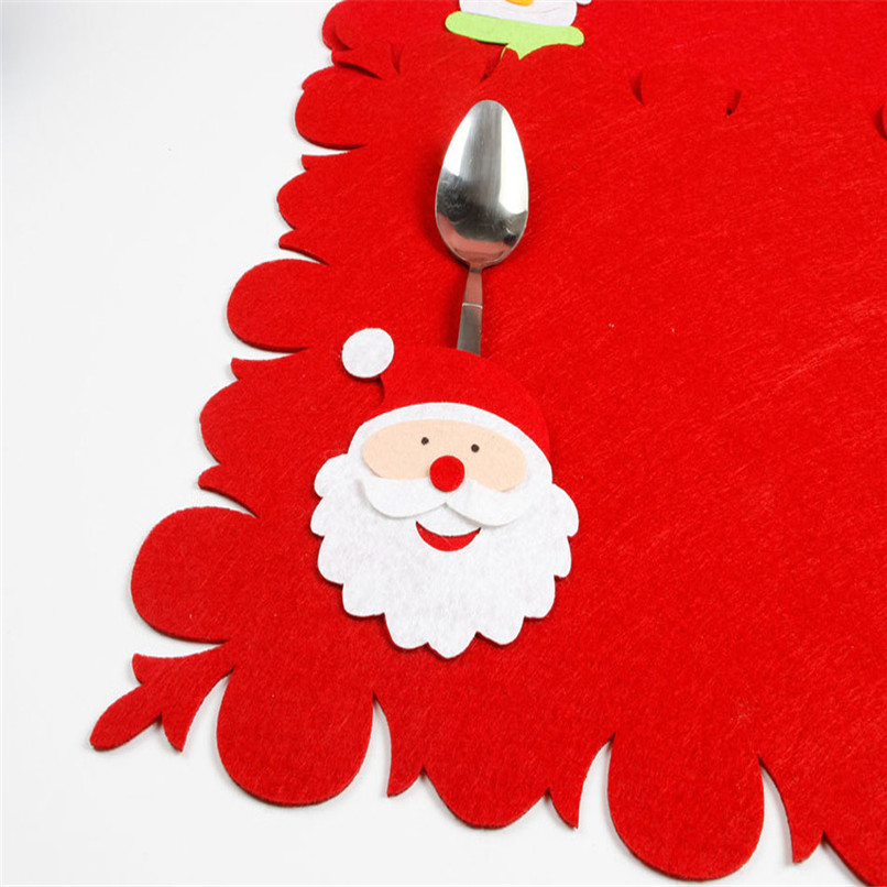 1PC Bowl Fork Placemat Mat Decoration Home Party Christmas Dining Table Wholesale Free Shipping 30RI6