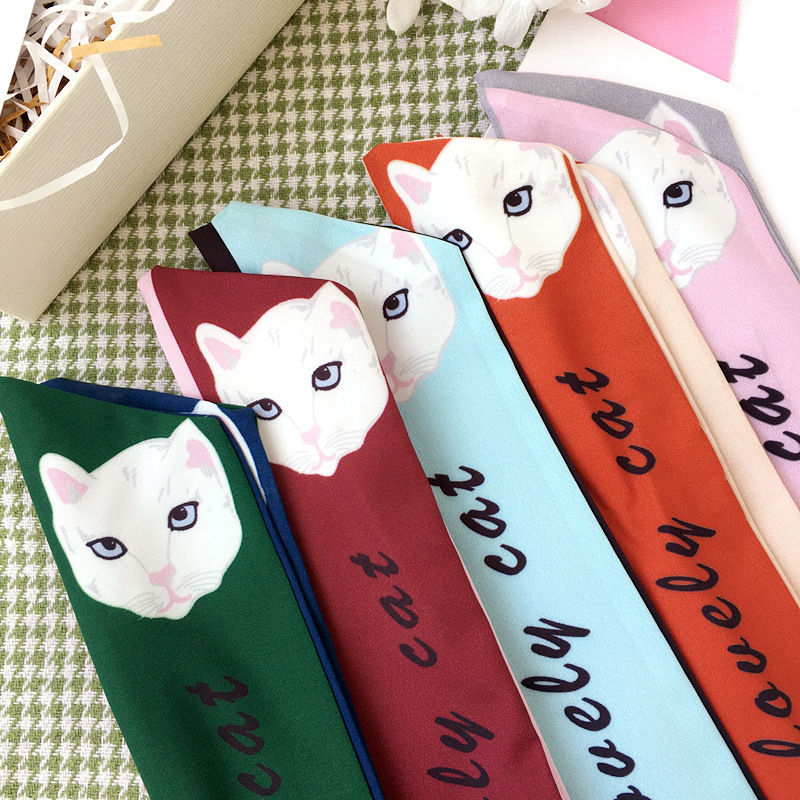 Korea Colorful Cloth Print Cat Ears Headbands For Girls Lovely Flower Hair Accessories Hairbands Hair Bows -4