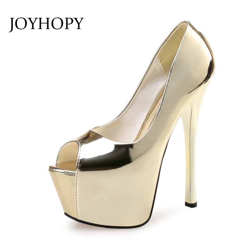 Spring Autumn Patent Leather Platform Pumps Sexy Women Party Dress High Heels Woman Thin Heel Wedding Peep Toe Shoes WP1120 black 8 inch ultra high heels peep toe shoes platform heels women fashion patent leather dress shoes sexy shoes