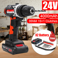 24V 4000mAh Cordless Electric Drill Rechargeable Electric Screwdriver Cordless Impact Drills Driver Household DIY power tools