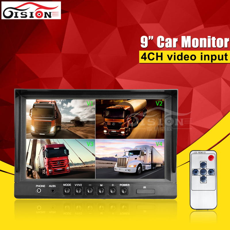 9Inch 4 Quad Color Car Monitor For Car Parking Security CCTV Reverse View Monitoring For Camera /Dvr With 4CH Video Input vga 4ch color cctv security camera quad processor remote control